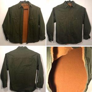 St Johns Bay Fleece Line Olive Canvas Shirt Jacket